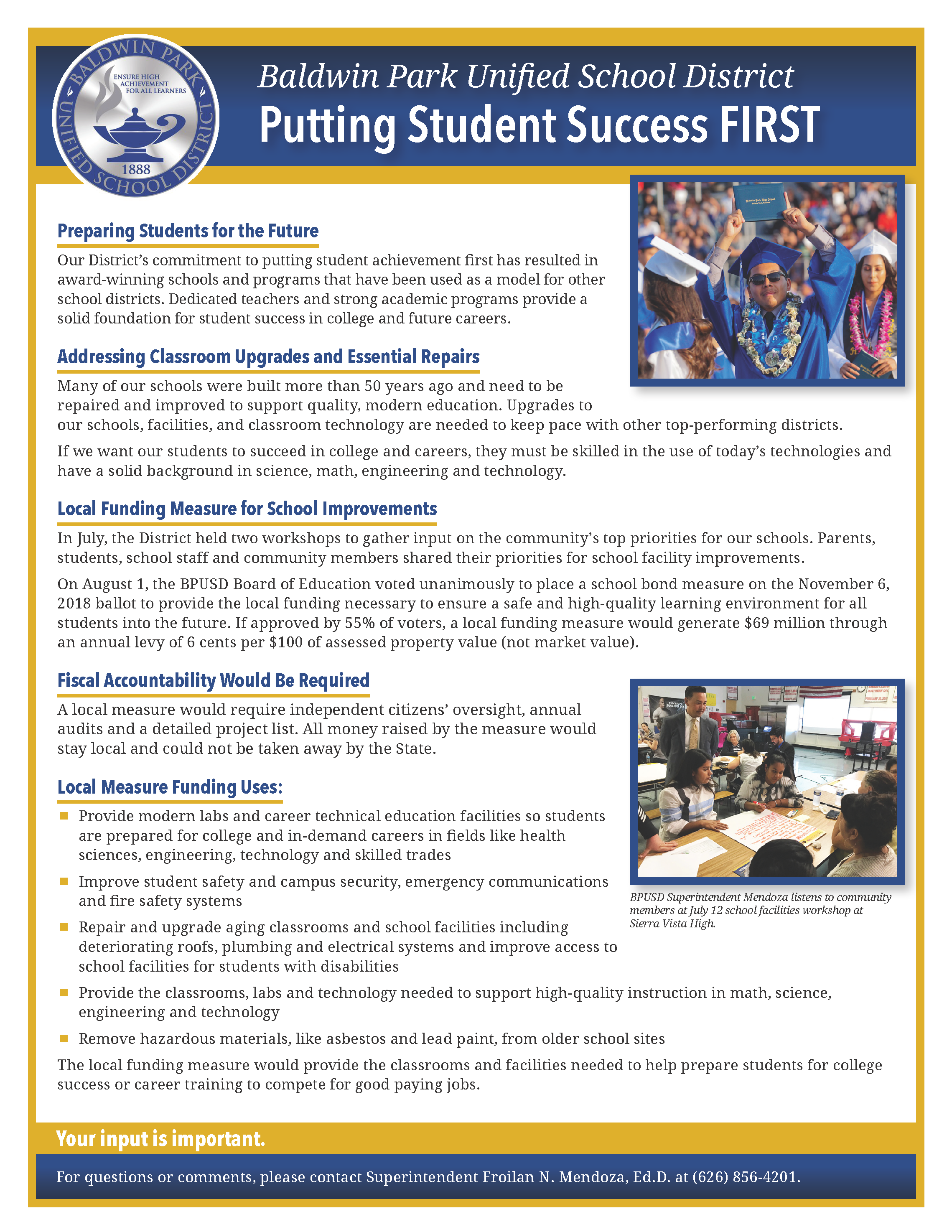 BPUSD School Bond Measure Fact Sheet