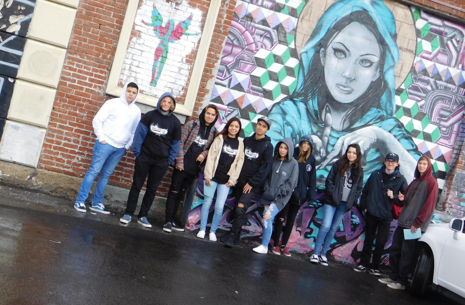 Group of Students by Wall Mural in LA