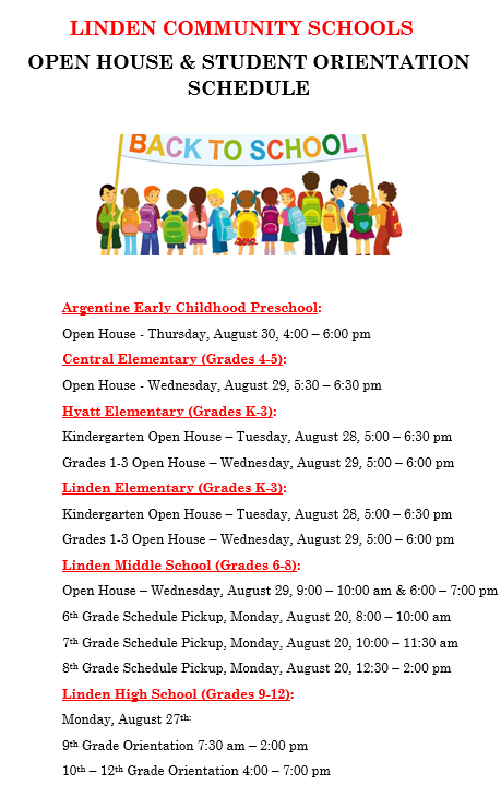 LCS Open House & Student Orientation Schedule 2018-19 Thumbnail Image