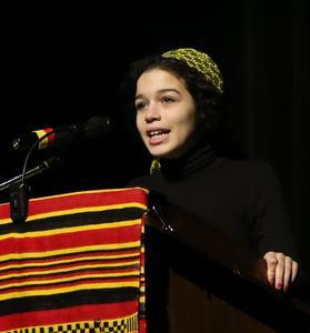 student talking at BHM Celebration
