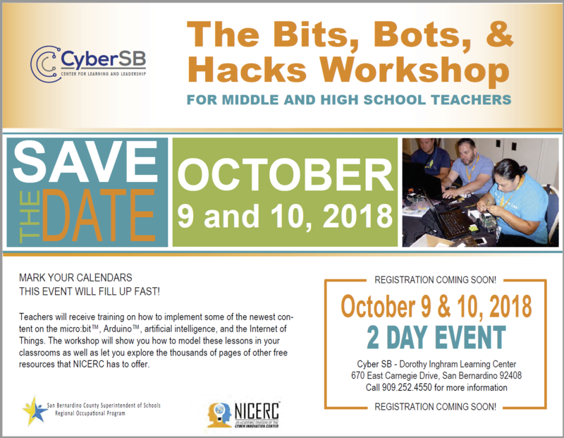 Save the Date! The Bits, Bots, & Hacks Workshop for CTE Instructors Thumbnail Image