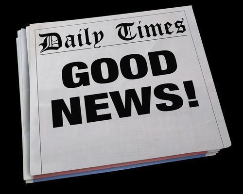 Image of newspaper with words Great News!