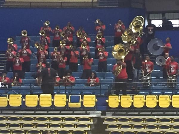 A photo of the Baker High School PEP Band Playing at Southern University Basketball Game