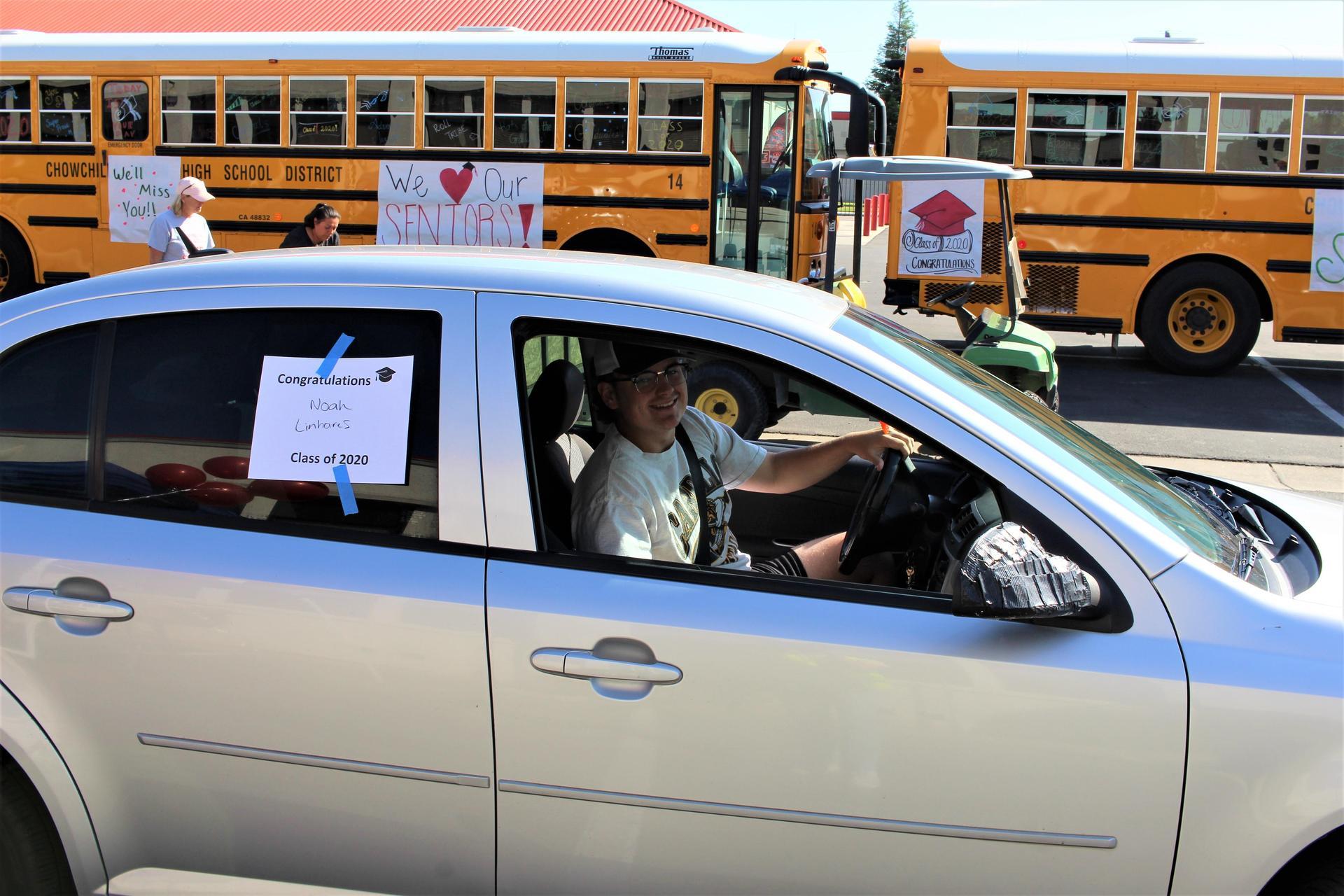 Noah Linhares driving through