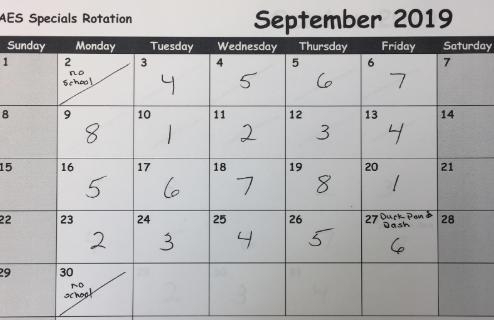 special's Rotation Calendar
