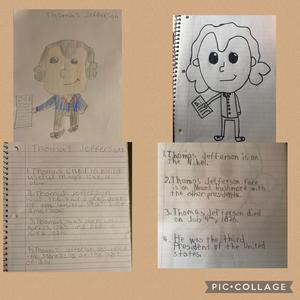2 drawings of Jefferson and facts