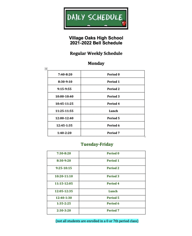 VOHS 2021-2022 Bell Schedule Featured Photo