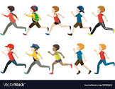 KID CARTOON CHARACTERS RUNNING