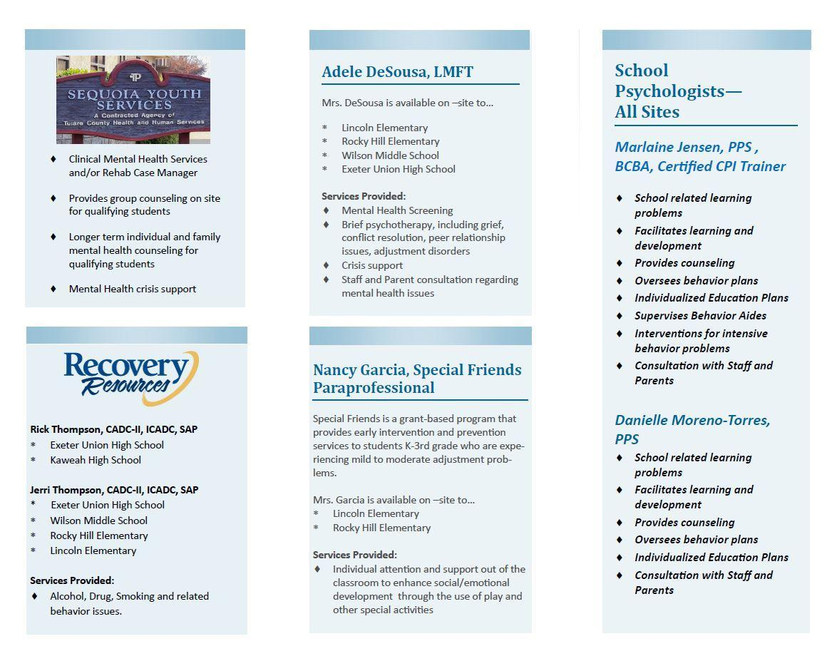 EUSD student support services resources brochure page 2