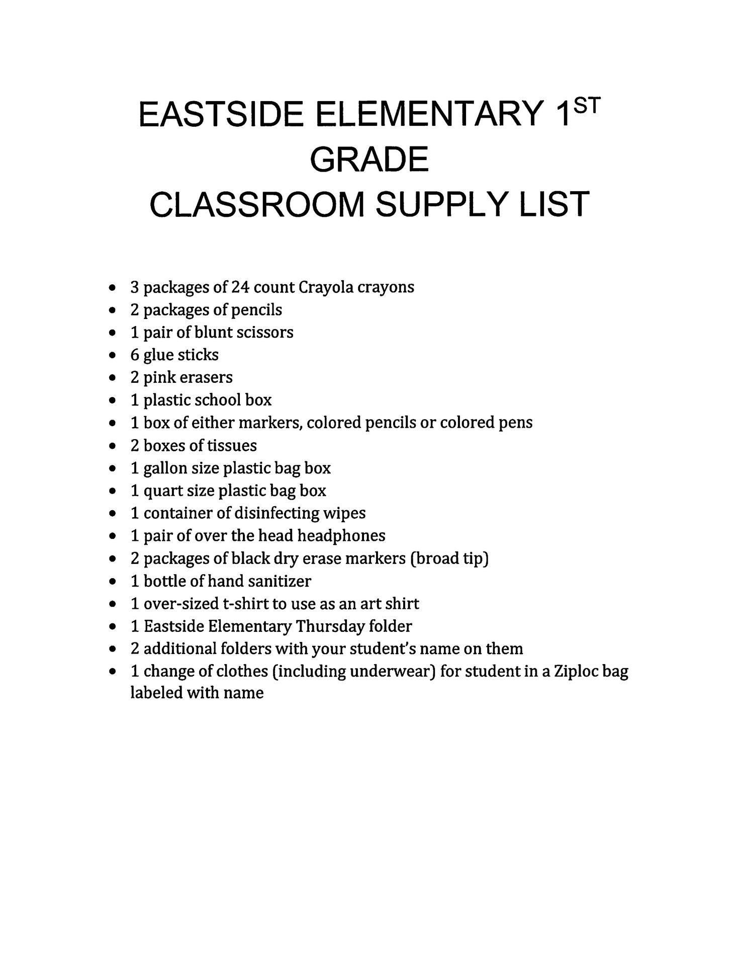 E2 1st supply list for 2019-20