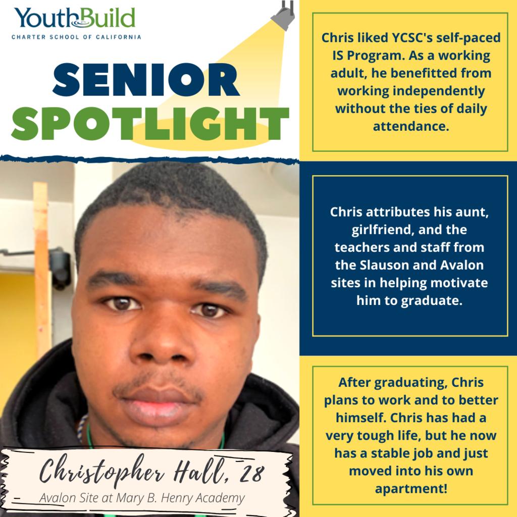 Senior Spotlight for graduate Christopher Hall