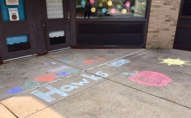 Chalk Art Hawks