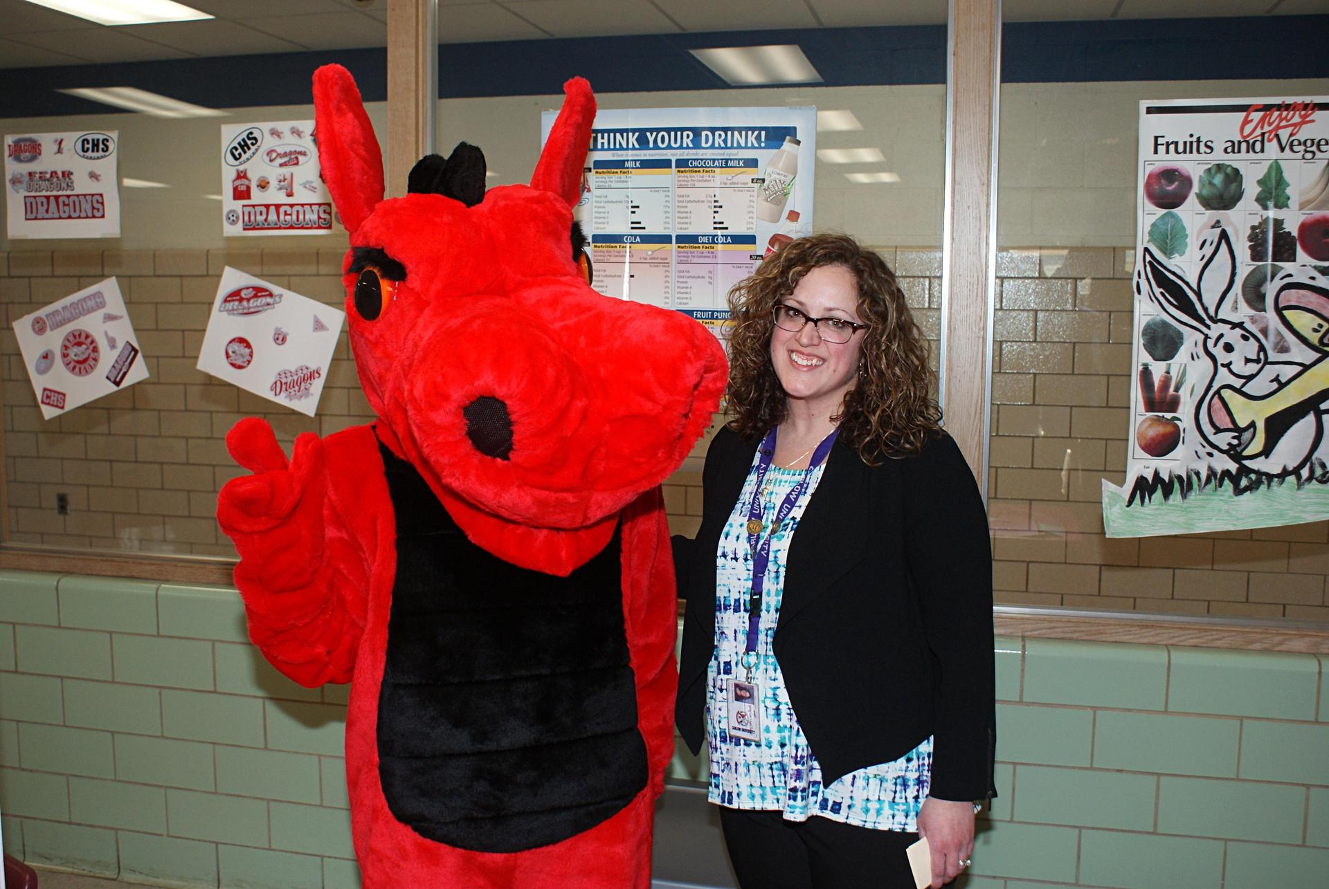 Mrs. Zeznanski with the SCE Dragon Mascot