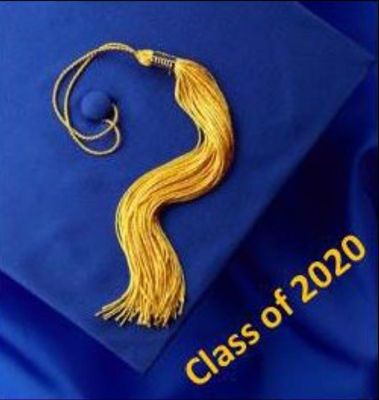 Blue Graduation Cap with Gold Tassle