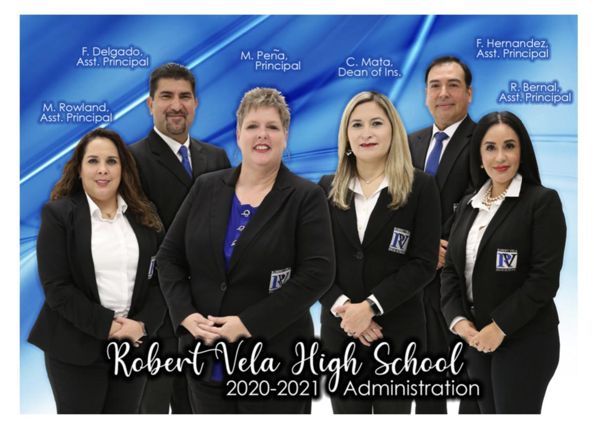 RVHS Administration Team, From left to right: Melissa Rowland, Fernando Delgado, Michele Peña, Clauda Mata, Felix Hernandez, Rosie Bernal
