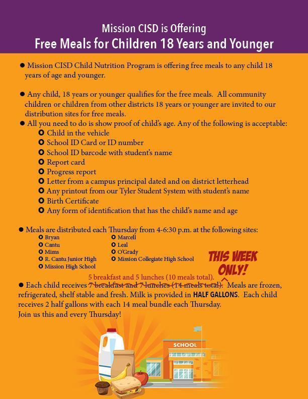 Changes announced for Mission CISD weekly Curbside Meals Pick Up program Featured Photo