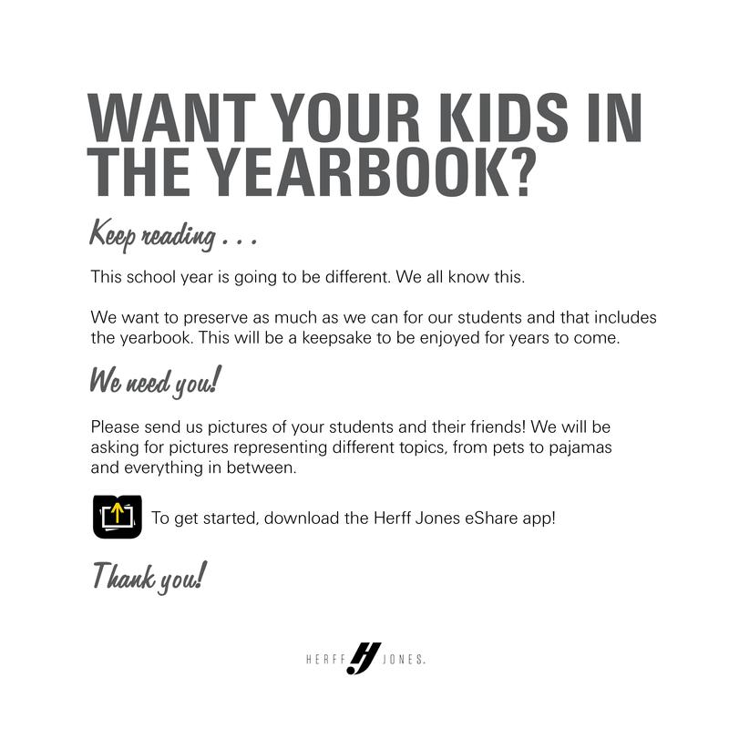 flyer with text giving information on how to upload pictures for consideration in the yearbook