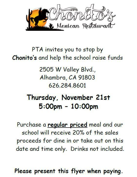 ENJOY A NICE MEAL AT CHONITOS RESTAURANT AND RAISE MONEY FOR OUR SCHOOL! Featured Photo