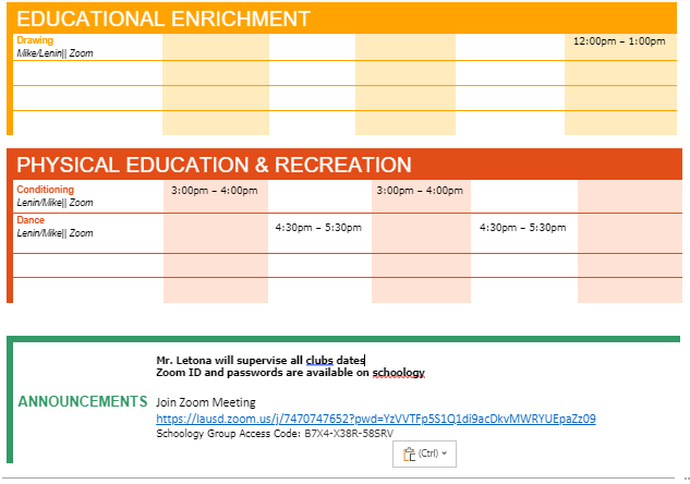 Summer 2020 August Program Calendar