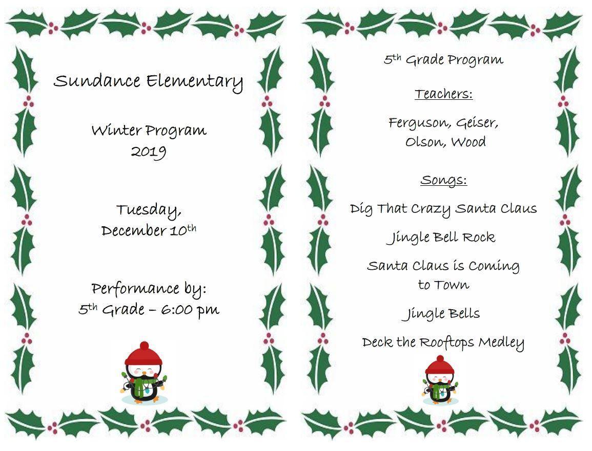5th Grade Winter Program