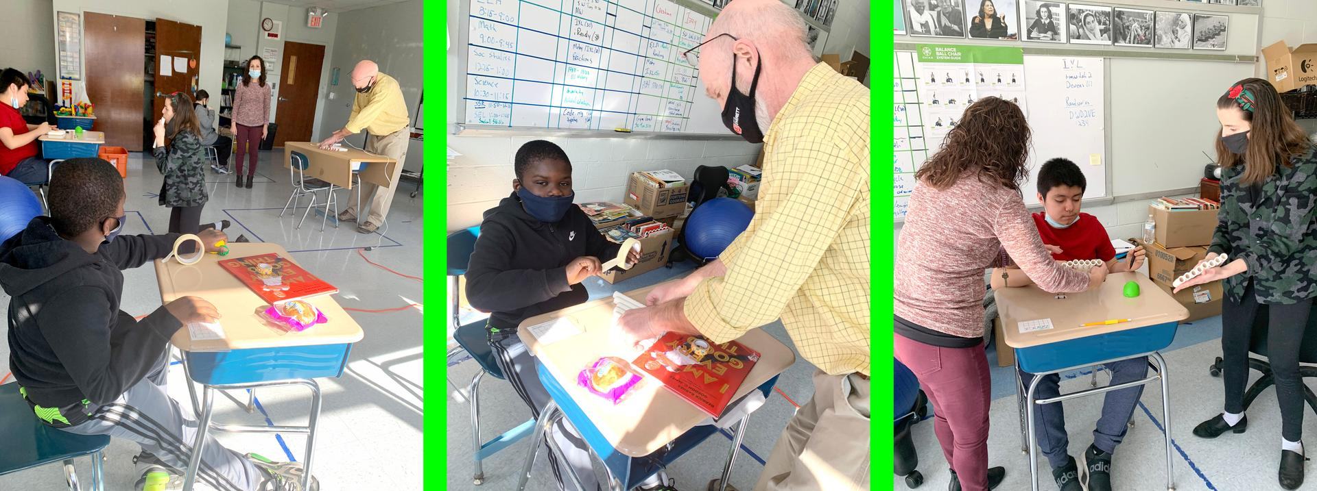 Three tile image, students and teachers working on a project