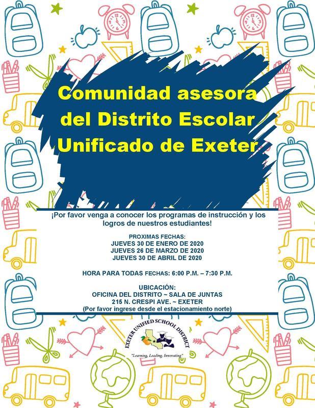 exeter community advisory meeting- upcoming dates- spanish