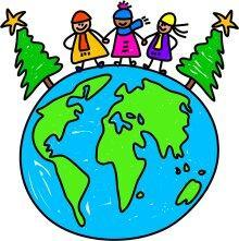 Globe with kids on top and two Christmas trees