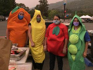 food service dressed up as fruits and veggies