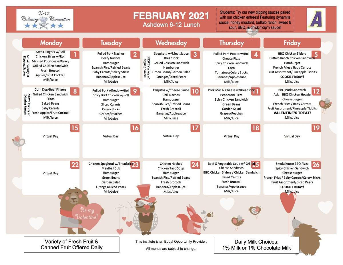 Feb lunch menu grades 6-12