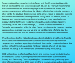 With Gatesville residents having possible exposure to COVID-19 at a local workplace, GISD wants to minimize the possible spread of this illness. Therefore, school will be closed next week (March 16-20). We will re-.png