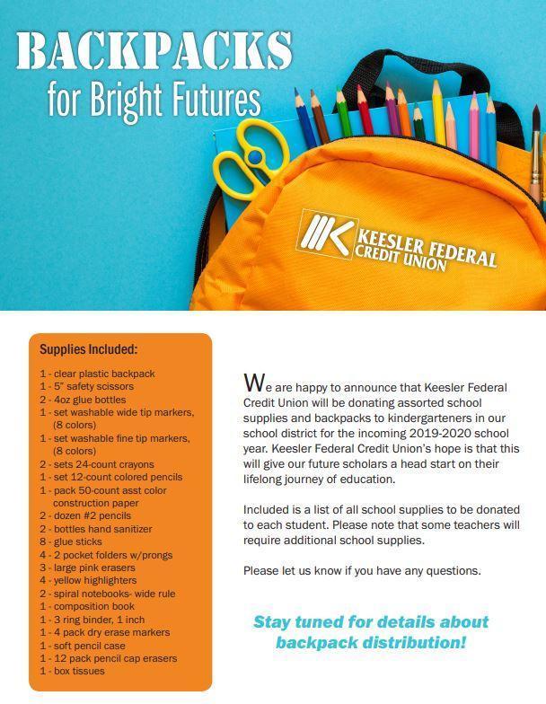 Keesler Donates Kindergarten School Supplies for 2019-2020