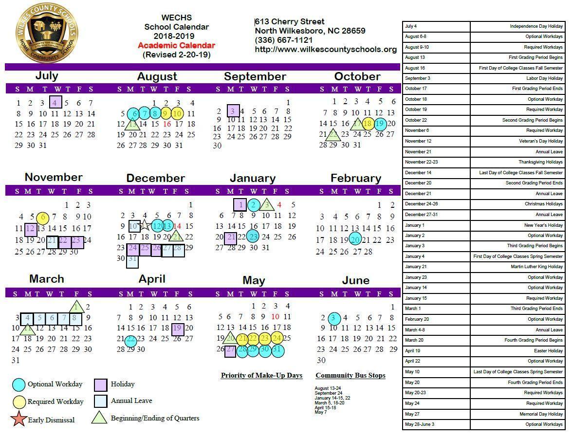 2018-19 WECHS Board-Approved Academic Calendar