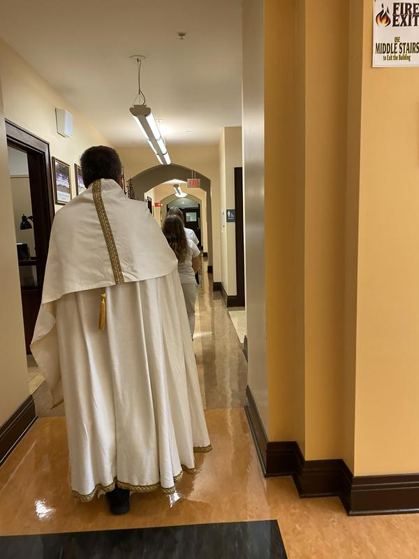 the OLSH Eucharistic Procession took place indoors this year