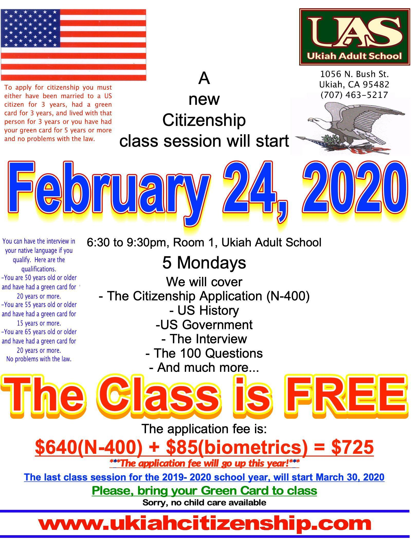 A new citizenship class session start February 24, 2020 poster