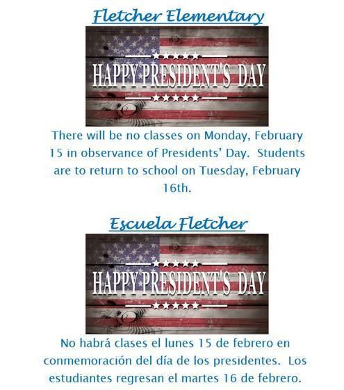 President's Day February 15th, 2021-No School