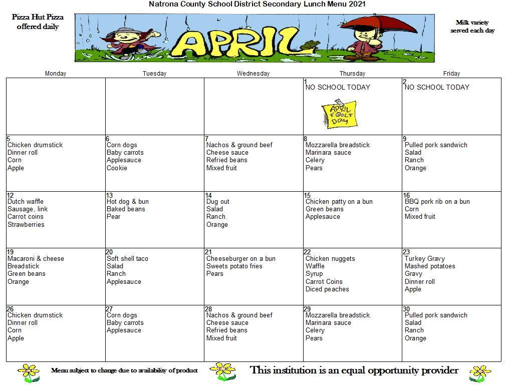 April Secondary Lunch Menu