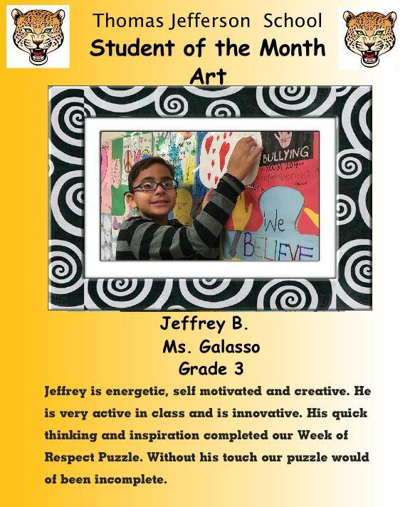 jeffrey b art student of the month