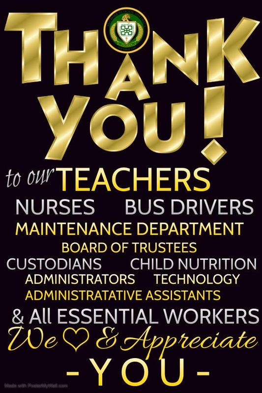 McComb School District Thanks And Appreciates All District Staff And Essential Workers by the McComb School District Community Engagement Department. #Reset
