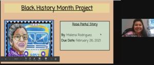 Malena Rodriguez's title slide on Rosa Parks