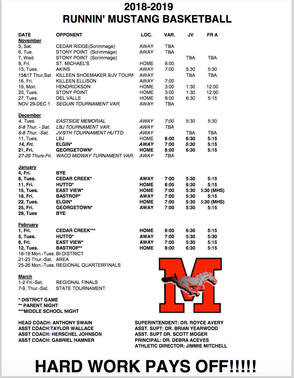 Manor Boys Athletics Schedule