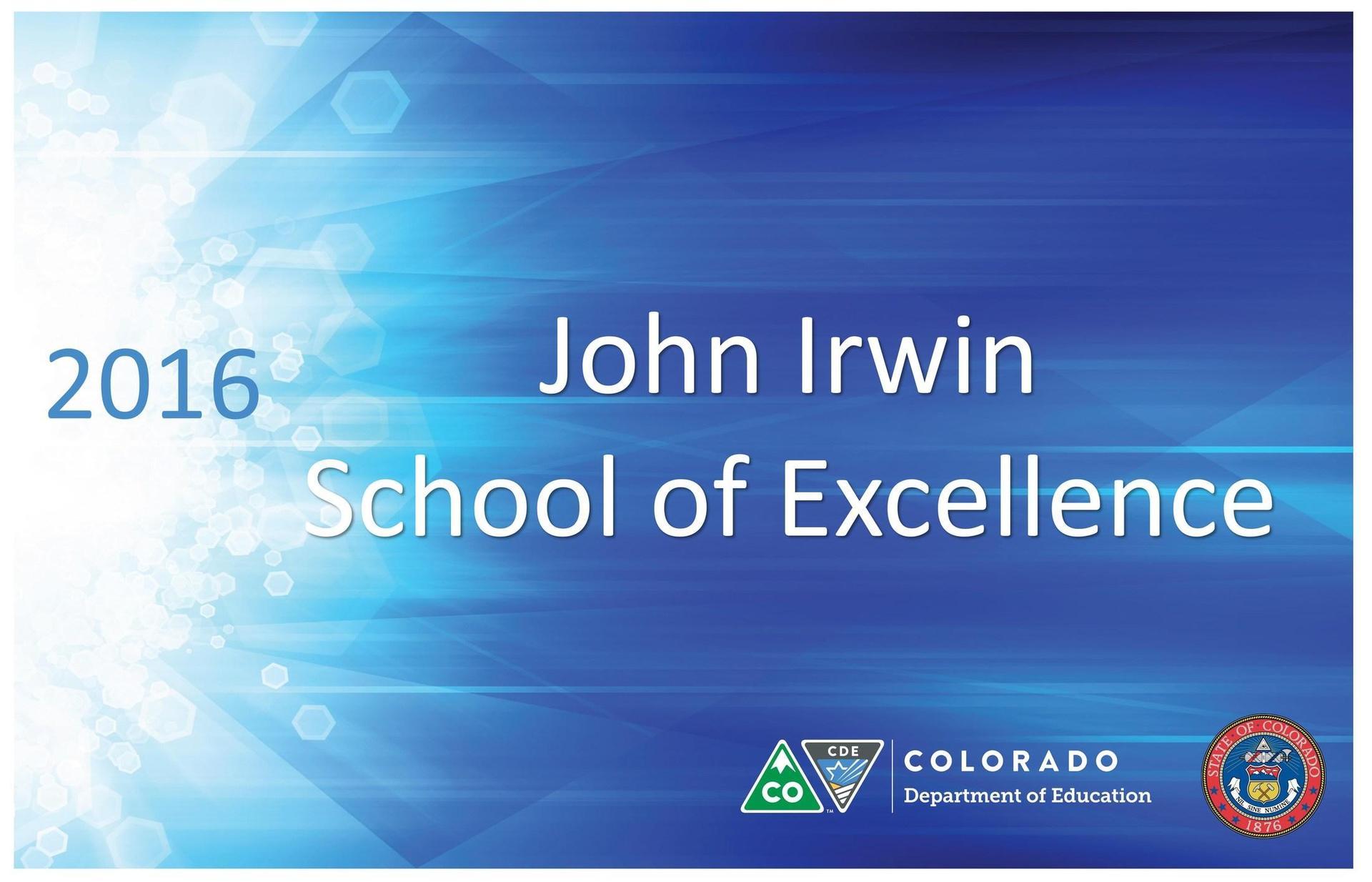 John Irwin School of Excellence Award 2016