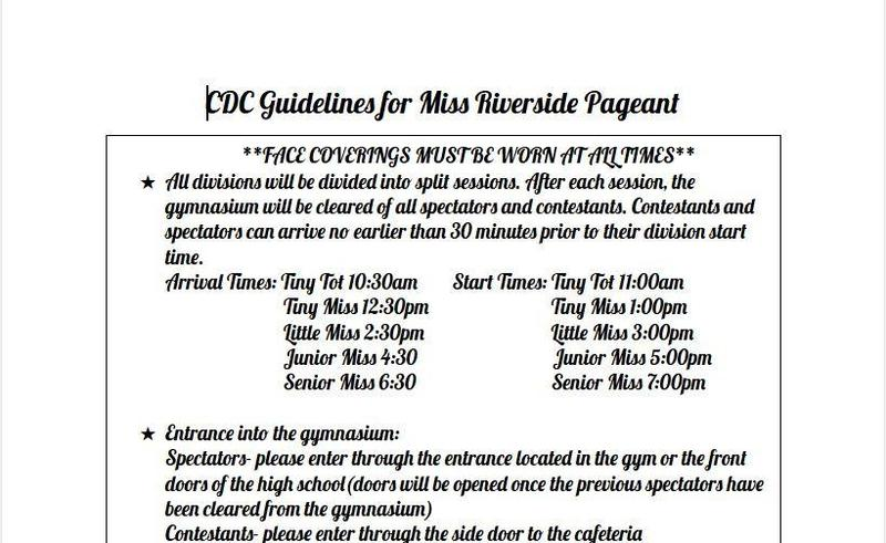 CDC Guidelines for Miss Riverside Pageant Featured Photo
