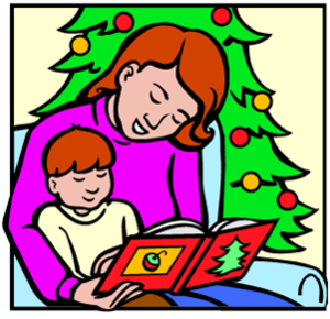 Clipart picture of parent reading to child