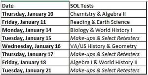Testing Schedule for the Fall Semester