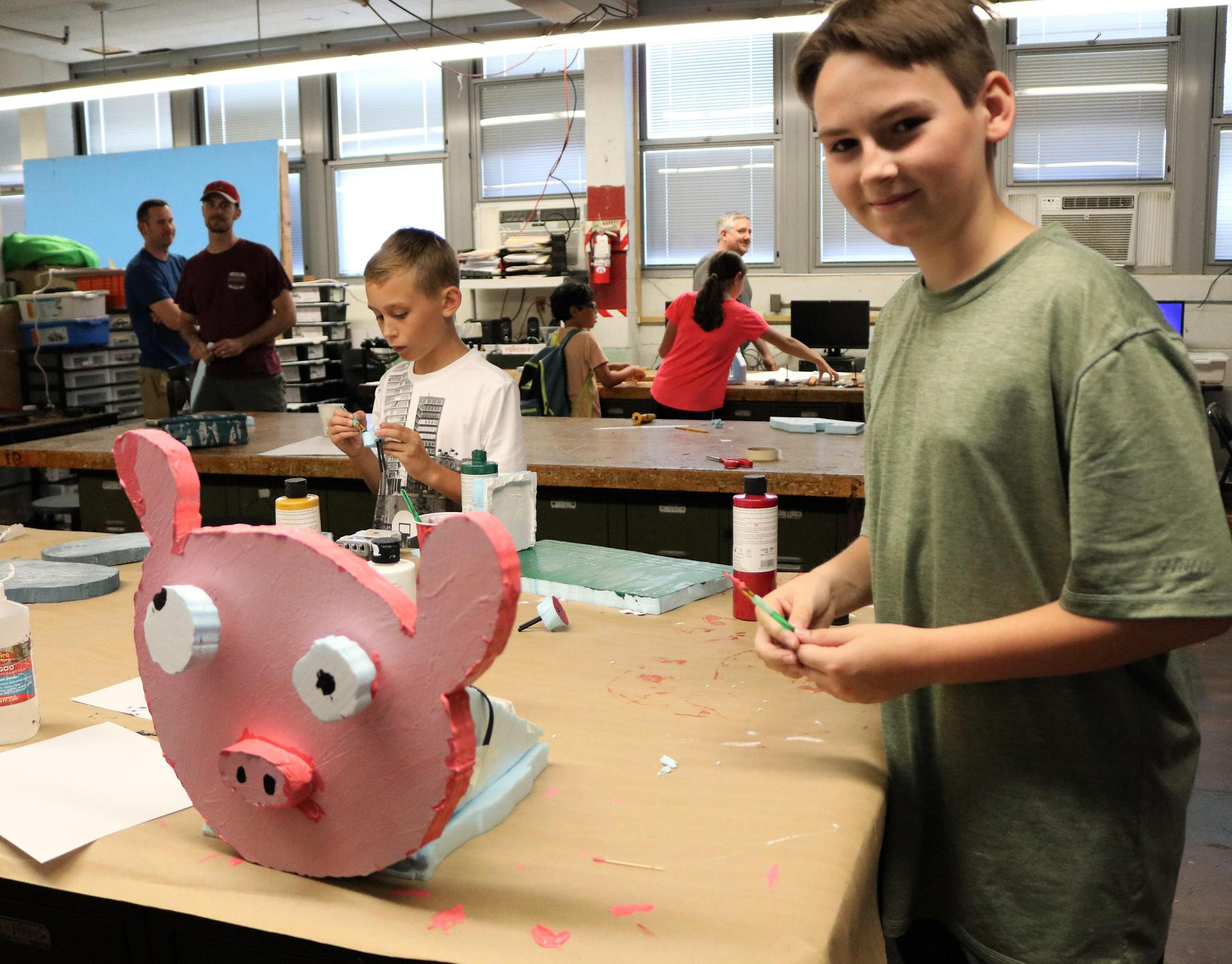 Student enjoys Animatronics and Robotics at STEM Camp.