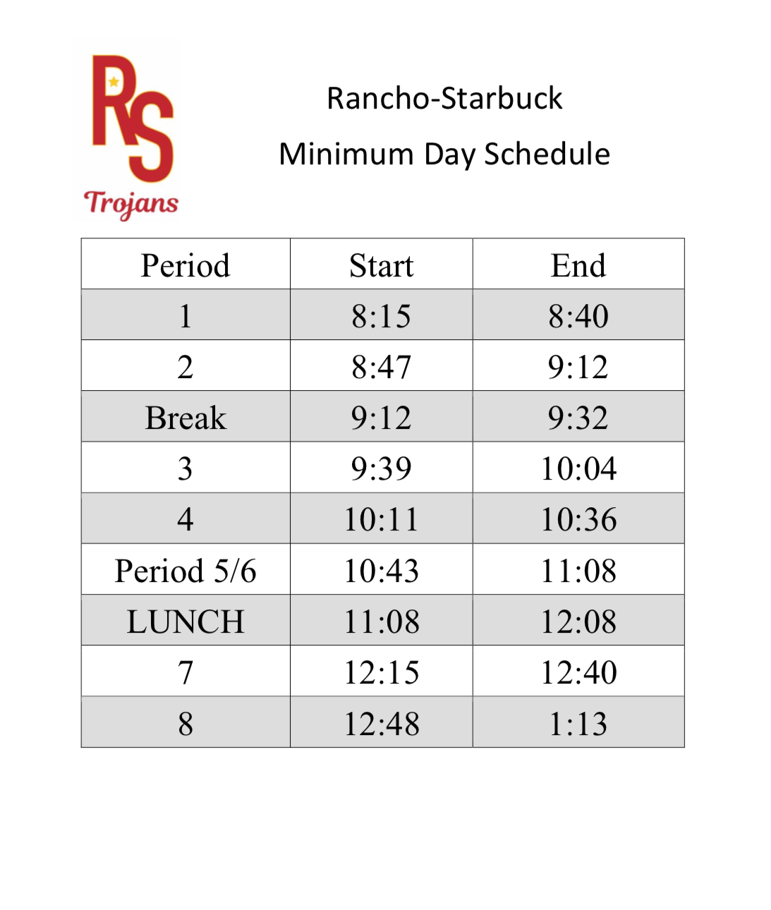 Distance Learning Minimum Day Schedule
