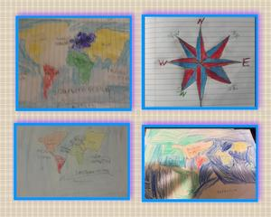 3 map drawings and 1 compass drawing