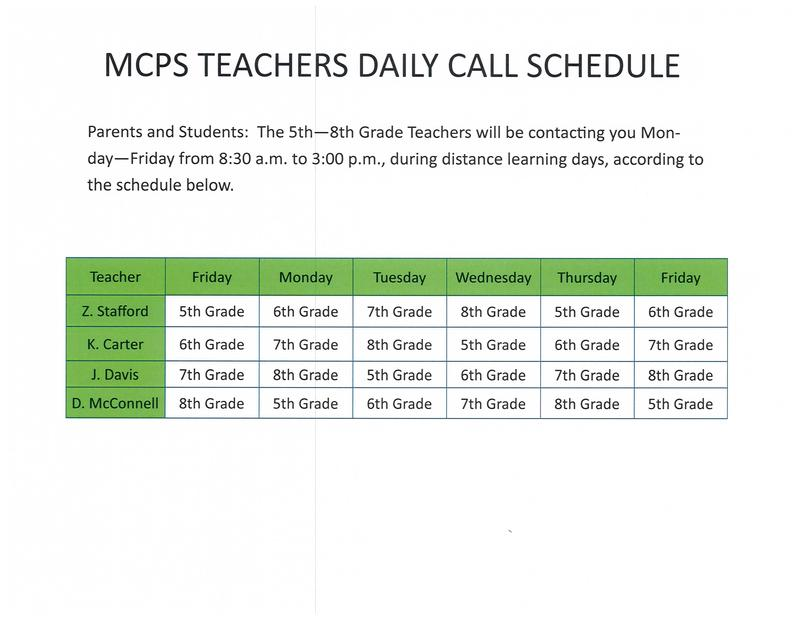 MCPS TEACHER DAILY CALL SCHEDULE Featured Photo