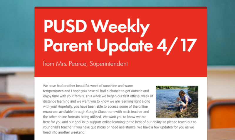 PUSD Weekly Parent Update