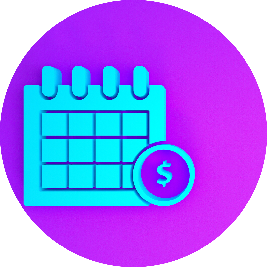 icon of calendar with dollar bill symbol